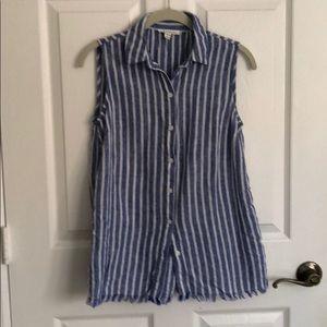 Blue linen stripes button up shirt